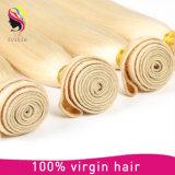 熱い販売のモンゴルに膚触りがよくまっすぐなブロンドに人間の毛髪の編むこと