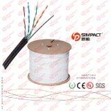 Chaqueta de UTP Cat5e PVC+PE con el cable de LAN del alambre de gota