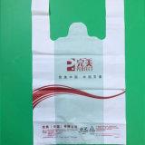 Sac blanc d'emballage estampé par HDPE de sac à provisions de sac de T-shirt