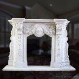 Lareira em mármore branco Flores Surround (T-6954)