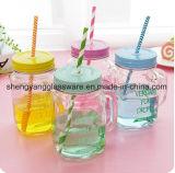 Gute Qualitätskonkurrenzfähiger Preis-Glas-Flaschenglas-Becher-Maurer-Glas mit Metallkappe und -stroh