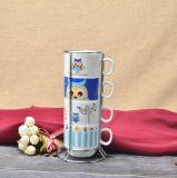 金属の棚が付いているフクロウのStaclabeの陶磁器のお茶