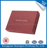 Boîte-cadeau rigide de papier estampée de couleur rouge avec le logo d'or