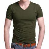 Baumwollspandex-Muskel-Tagless der dünnen Sitz-Eignung-Männer Gymnastik-T-Shirts