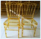 Gold amontonable Clear Napoleon Resin Chair para Hotel y Restaurant (YC-P23-2)