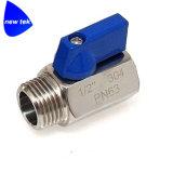 robinet à tournant sphérique d'amorçage femelle de l'acier inoxydable de 1/2in (316) mini Fxf Bsp