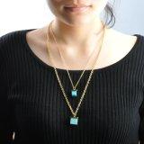 De recentste Gouden Dubbele Lange Halsband van Kettingen met de Tegenhanger van de Steen