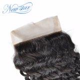 Chiusura profonda del merletto dei capelli del Virgin dell'onda di nuovo colore naturale superiore della stella 4X4