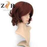 Perruques synthétiques de circuit de cheveu de Kanekalon de couleur rouge