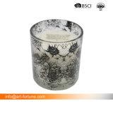 Аромат ароматические свечи в белый цвет для опрыскивания и серебряной табличка покрытие со стеклянным кувшином для интерьера и поощрение
