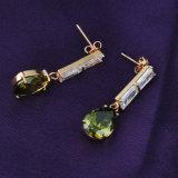 De nieuwe Juwelen Zircon van het Messing van het Koper van het Ontwerp Smaragdgroene bengelen de Oorringen van de Daling