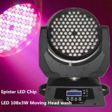 108PCS 3W RGBW LED移動ヘッドライトLCDワイドスクリーン12DMXチャネル1年の保証LEDの段階の洗浄ライト