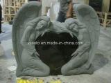 각 심혼 모양 검정 화강암 묘비 묘석 Momument 돌