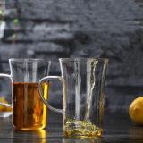 Taza de té sin plomo del vidrio de Borosilicate con la maneta