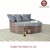 屋外のためのPEの藤が付いている鋼鉄小さい寝台兼用の長椅子(1214年)