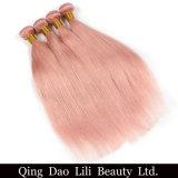 リリーの美の固体ピンクのOmbreのブラジルのまっすぐな人間の毛髪の織り方の束