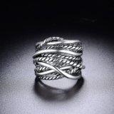 Joyería plateada oro del anillo de dedo de la joyería del platino de la manera