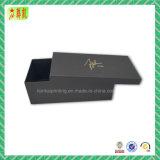 Embalagem preta luxuosa de gravação da caixa de sapata de Cardbord