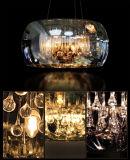 Vidrio contemporáneo del comedor que cuelga la iluminación ligera pendiente de la lámpara con altura colgante ajustable en cromo
