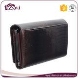 流行のお金袋、女性のためのブラウンカラーワニの皮の本革の札入れ手の財布