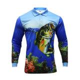 Polyester Healong impression en sublimation de la pêche à manchon long Shirt pour hommes Vêtements Mode personnalisé de la pêche La pêche Shirt d'usure