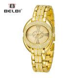 Belbi Frauen-Edelstahl-Golduhr-Quarz-Uhr-ovale römische Oberflächen imprägniern Uhr