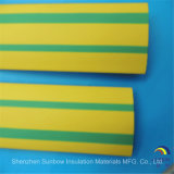 Der Draht, der gelbes Grün markiert, Striped Wärmeshrink-Gefäß