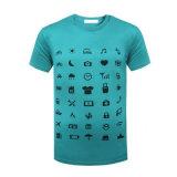 El cortocircuito de encargo del nuevo producto envuelve la camiseta claramente 100% del algodón del Mens