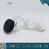 vaso crema di vetro trasparente 30ml con la protezione di plastica