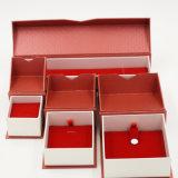 Rectángulo de joyería del papel acanalado del papel compensado del sellado de oro (J83-EX)