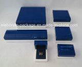 Houten Doos van de Doos van de juwelen van de douane de Blauwe voor de Verpakking van Juwelen