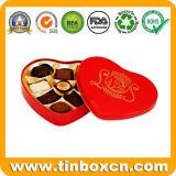 En forma de corazón del estaño por un caramelo, corazón caja de la lata