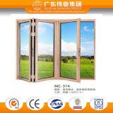 Puertas de cristal comerciales fuertes del aluminio/del aluminio/de Aluminio de plegamiento de la doble vidriera Frameless