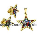 De Oorring van de Reeksen van de Juwelen van het Gouden Plateren van het Roestvrij staal van de Juwelen van Shineme met Tegenhanger (ERS7093)