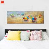 キャンバスの海岸の壁の芸術浜場面油絵