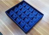 Bandejas de encargo de la joyería del MDF envueltas con cuero azul de la PU