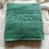 色コトンエンボスジャガード織りロゴバスタオル