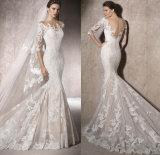 Robe nuptiale de robe de mariage de demi de collet nu des chemises V de lacet