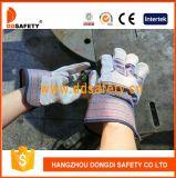 Ddsafety 2017 Kuh-aufgeteiltes Leder-Arbeits-Handschuh-Streifen-Baumwollbohrgerät-zurück Sicherheits-Handschuhe