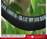 Boyau en caoutchouc hydraulique élevé de la résistance à l'usure de qualité SAE100 R16