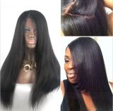 Yaki Straight Virgin Virgin Glueless Full Lace Hair Hair Wigs