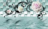 murales grandes del papel pintado del fondo de la decoración interior TV de la flor y de la mariposa de la pintura al óleo de la decoración de la pared 3D