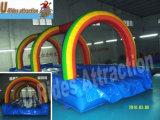 Resbalón inflable del agua del arco iris para la piscina
