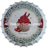 맥주 모자 패를 인쇄하는 컵 케이크 디자인 금속