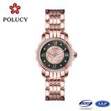 Cuarzo reloj de señora Cuerpo de acero de señoras dorado analógico con correas intercambiables