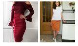 Senhora elevada Bodycon Contorno da saia do escritório das saias da cintura das mulheres da saia do lápis da saia da camurça