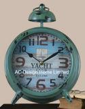 Decoración Vintage de metal verde antiguo reloj de mesa W/O LA ALARMA