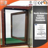 Finestra di vetro di alluminio di vetratura doppia di inclinazione & di girata della rottura termica, colore di legno di rifinitura del grano di legno di quercia rossa 3D