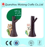 Diseño del tronco de árbol de Nolvety con el portatarjetas de la resina de los regalos de la vuelta del oso para la decoración