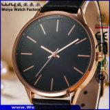 Relógios de pulso clássicos de quartzo feito sob encomenda dos pares da cinta de couro da forma (WY-P17010B)
